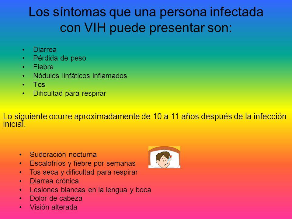 Los síntomas que una persona infectada con VIH puede presentar son: