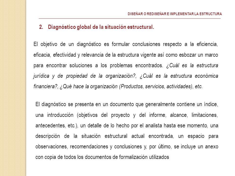 Diagnóstico global de la situación estructural.