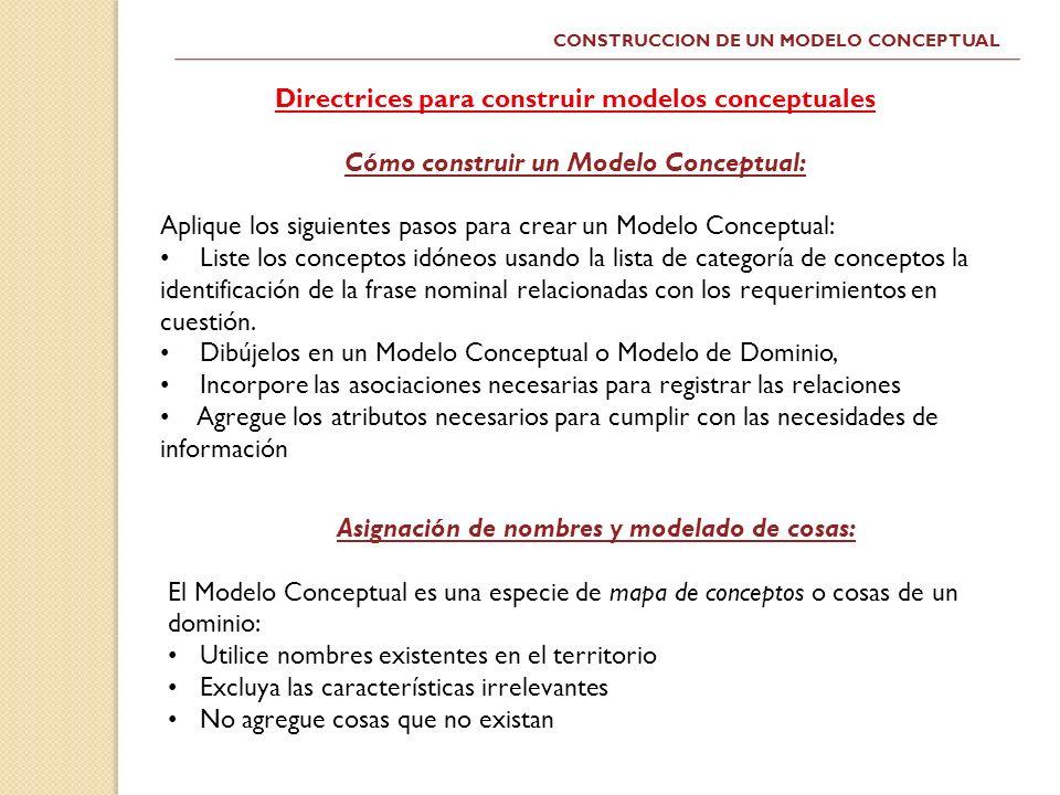 Directrices para construir modelos conceptuales