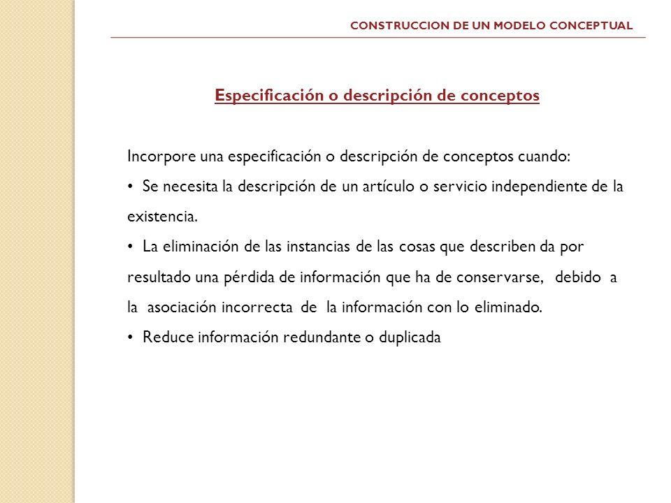 Especificación o descripción de conceptos