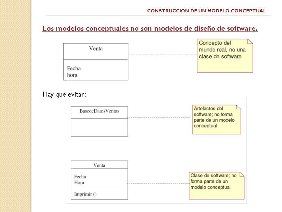 Los modelos conceptuales no son modelos de diseño de software.