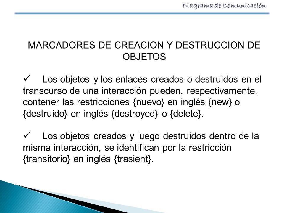 MARCADORES DE CREACION Y DESTRUCCION DE OBJETOS