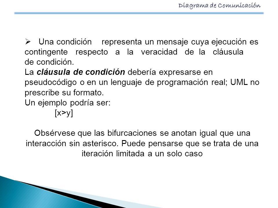 Una condición representa un mensaje cuya ejecución es contingente respecto a la veracidad de la cláusula de condición.