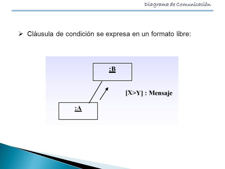 Cláusula de condición se expresa en un formato libre: