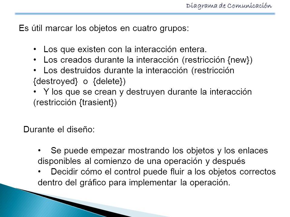 Es útil marcar los objetos en cuatro grupos:
