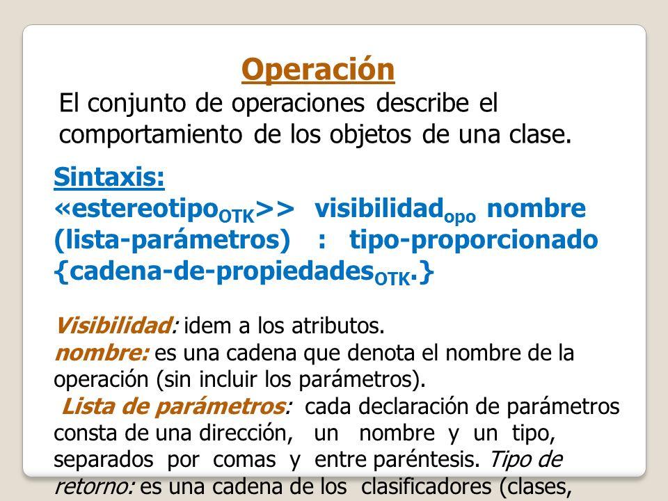 Operación El conjunto de operaciones describe el comportamiento de los objetos de una clase. Sintaxis: