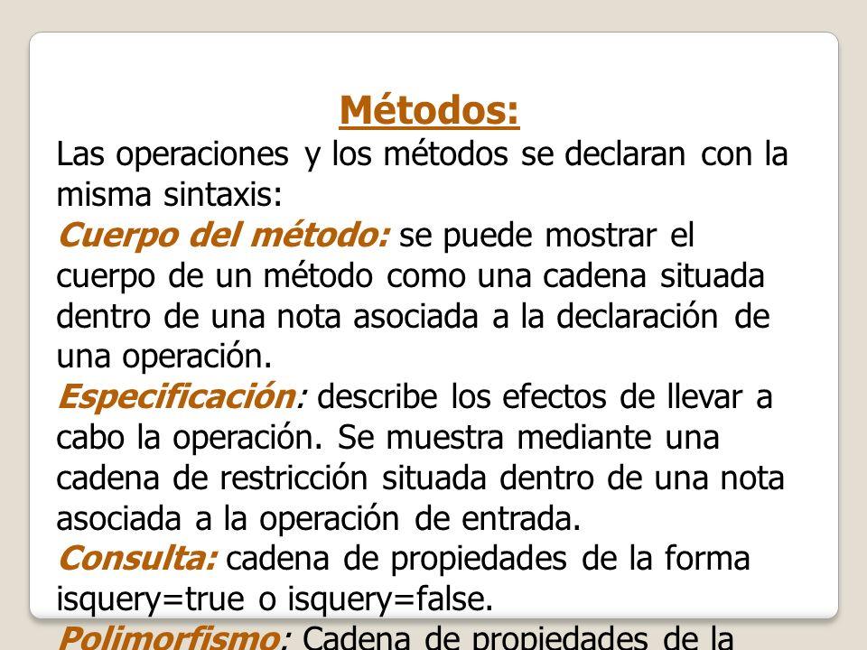 Métodos:Las operaciones y los métodos se declaran con la misma sintaxis: