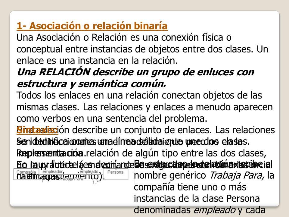 1- Asociación o relación binaría