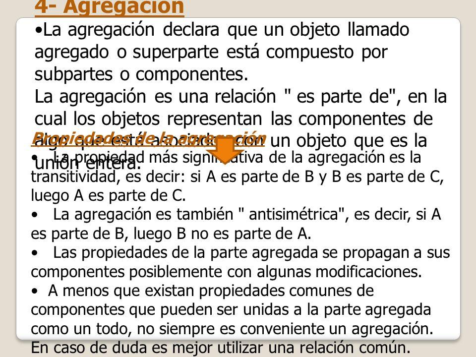 4- AgregaciónLa agregación declara que un objeto llamado agregado o superparte está compuesto por subpartes o componentes.