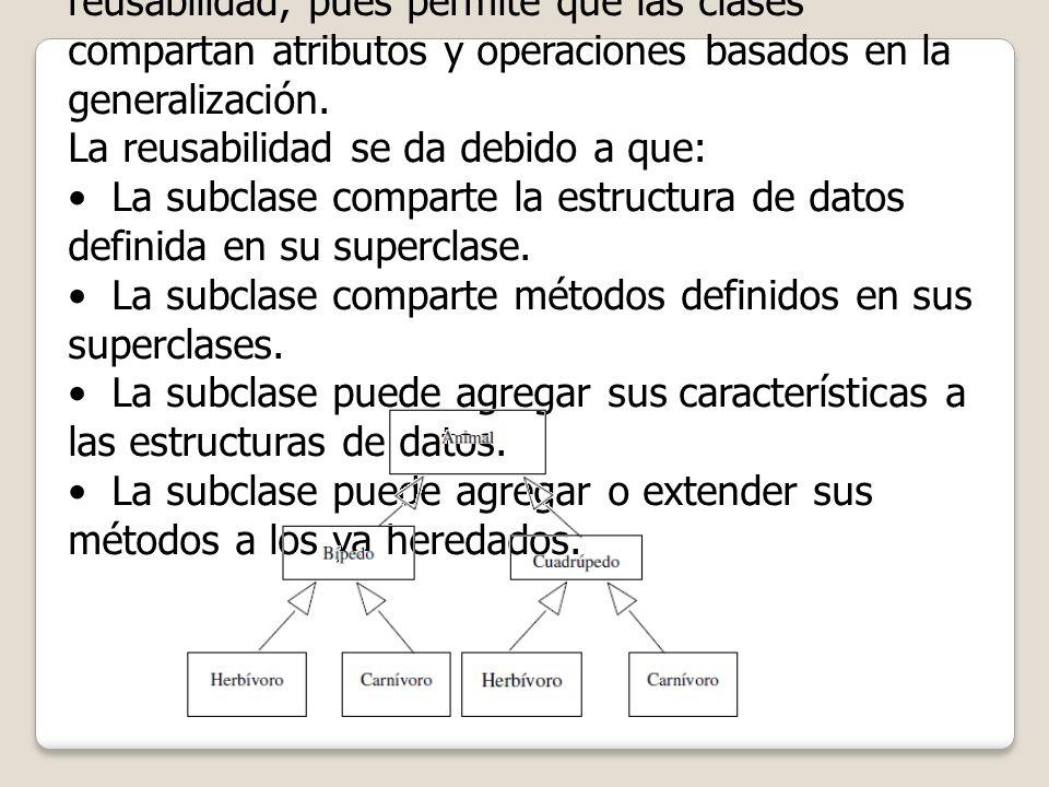 La herencia es un poderoso mecanismo de reusabilidad, pues permite que las clases compartan atributos y operaciones basados en la generalización.