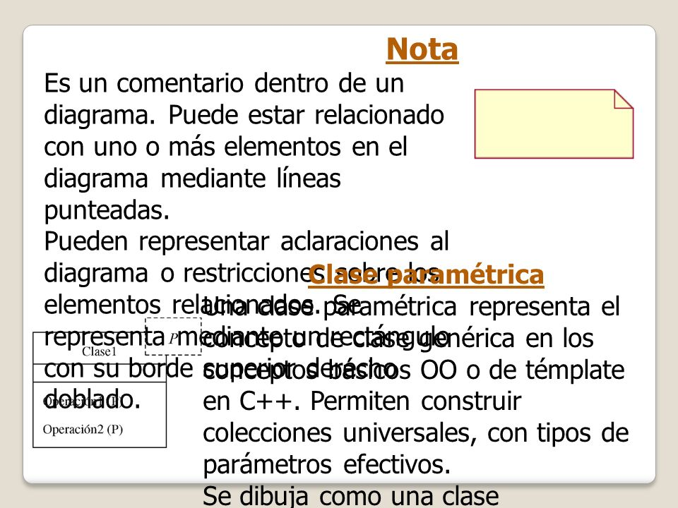 Nota Es un comentario dentro de un diagrama. Puede estar relacionado con uno o más elementos en el diagrama mediante líneas punteadas.