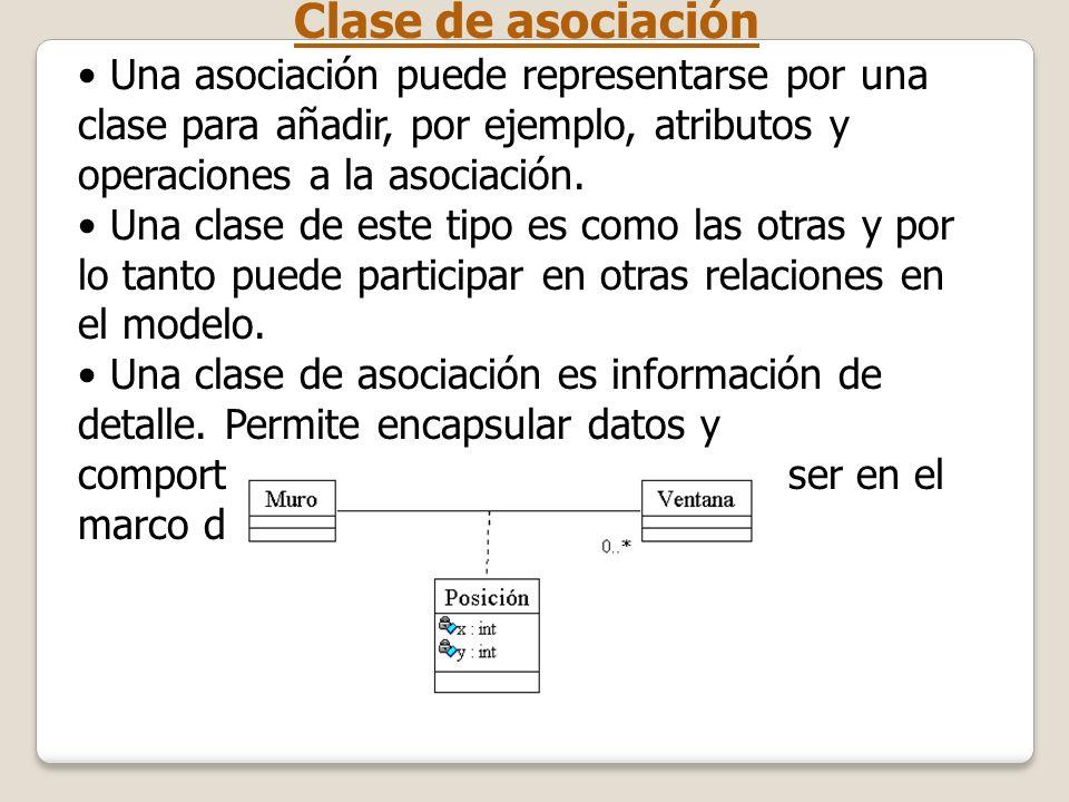 Clase de asociaciónUna asociación puede representarse por una clase para añadir, por ejemplo, atributos y operaciones a la asociación.