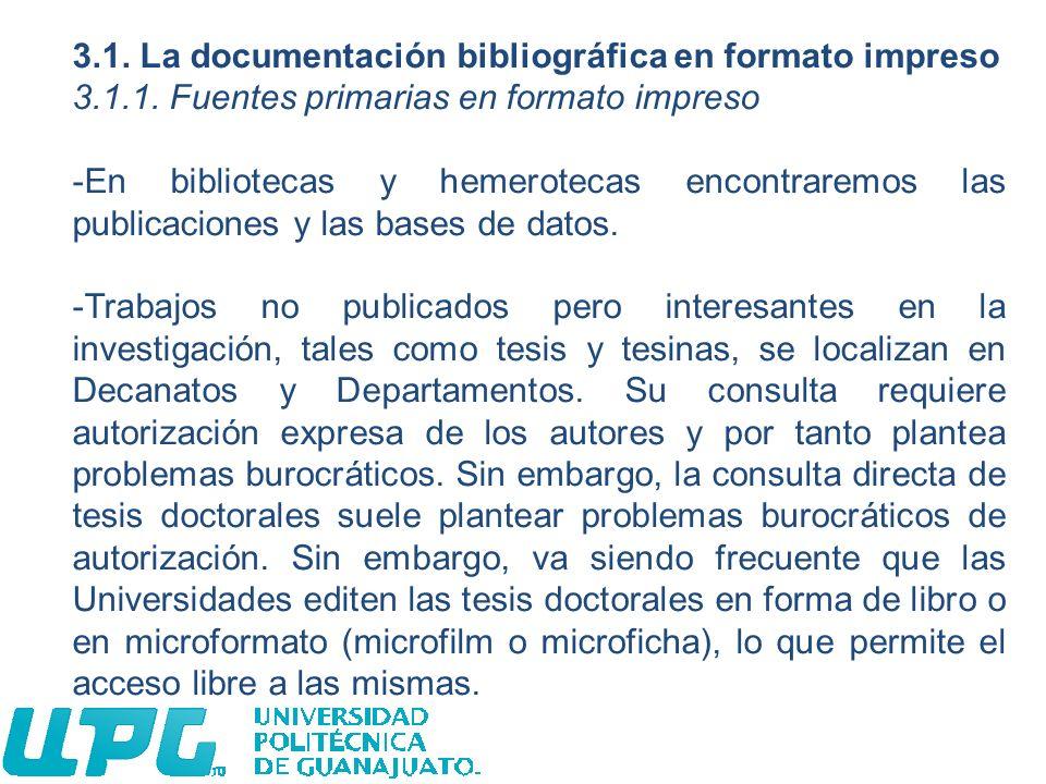 3.1. La documentación bibliográfica en formato impreso