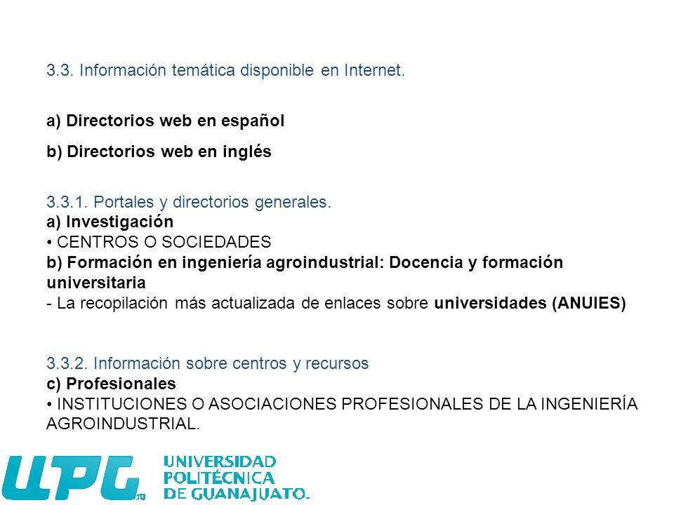 3.3. Información temática disponible en Internet.