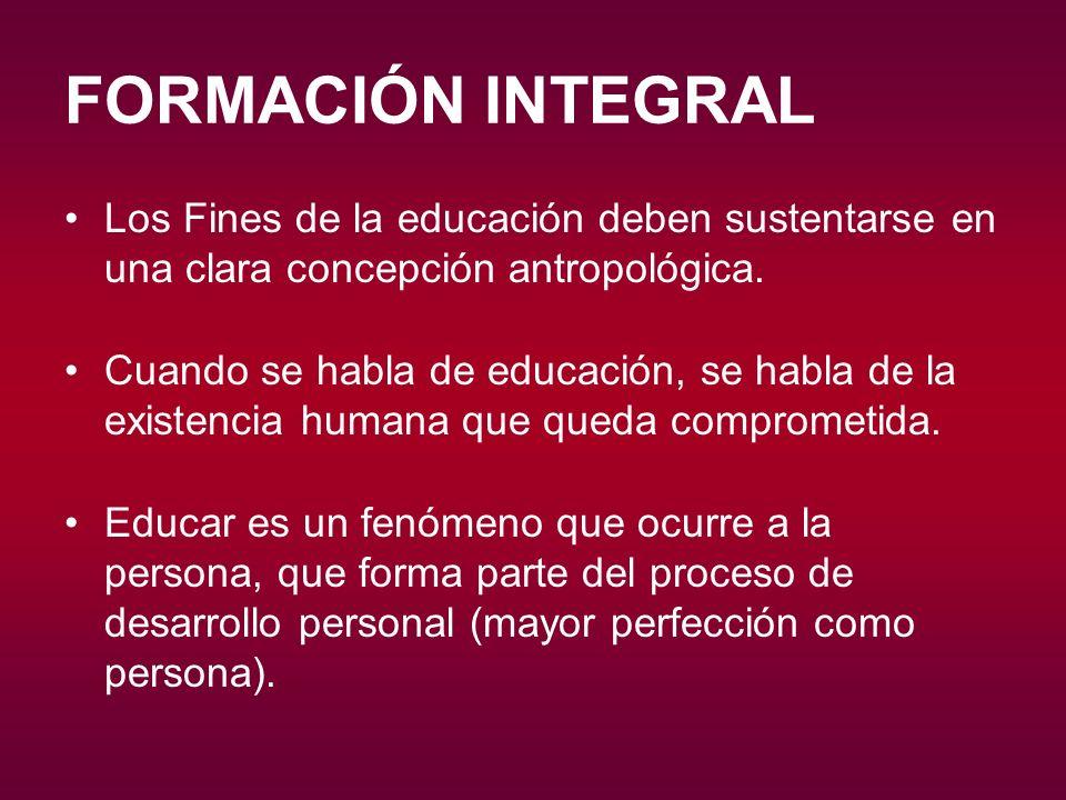 FORMACIÓN INTEGRAL Los Fines de la educación deben sustentarse en una clara concepción antropológica.
