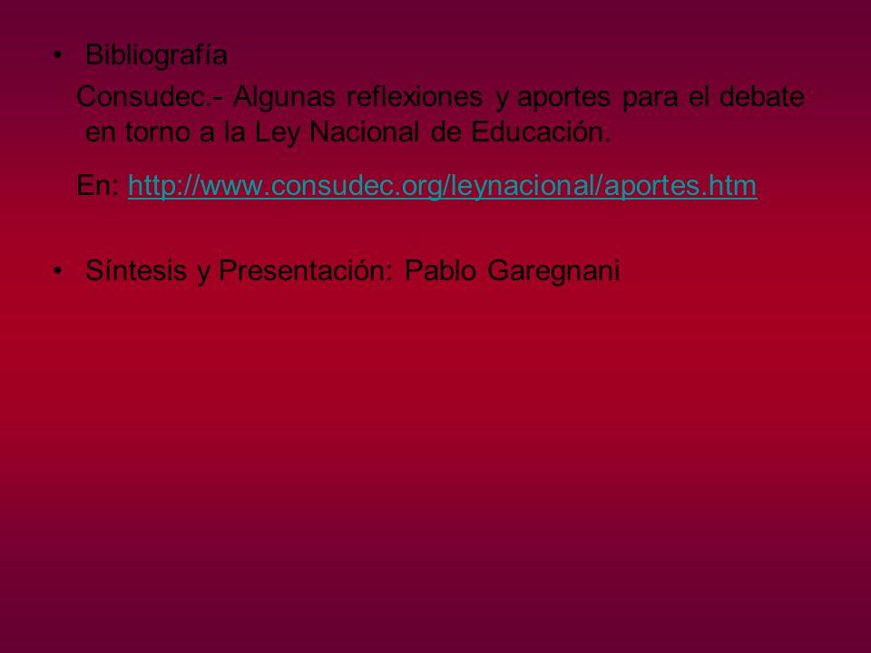 Bibliografía Consudec.- Algunas reflexiones y aportes para el debate en torno a la Ley Nacional de Educación.