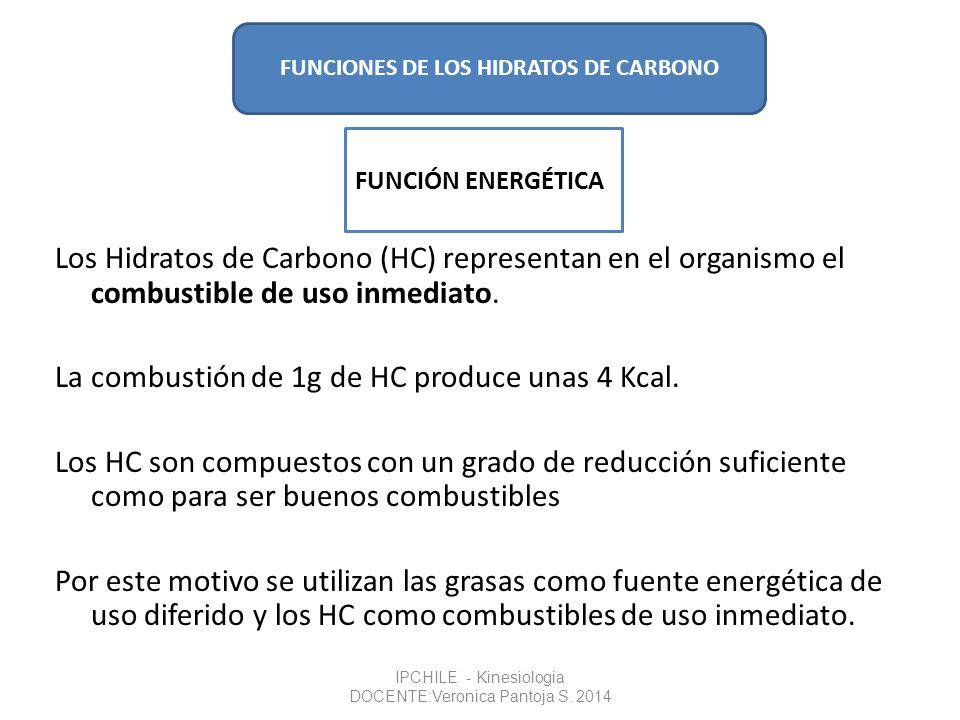 La combustión de 1g de HC produce unas 4 Kcal.