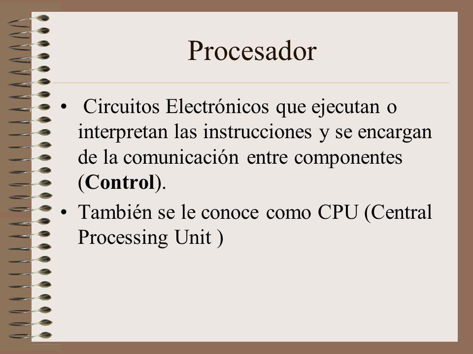 Procesador Circuitos Electrónicos que ejecutan o interpretan las instrucciones y se encargan de la comunicación entre componentes (Control).