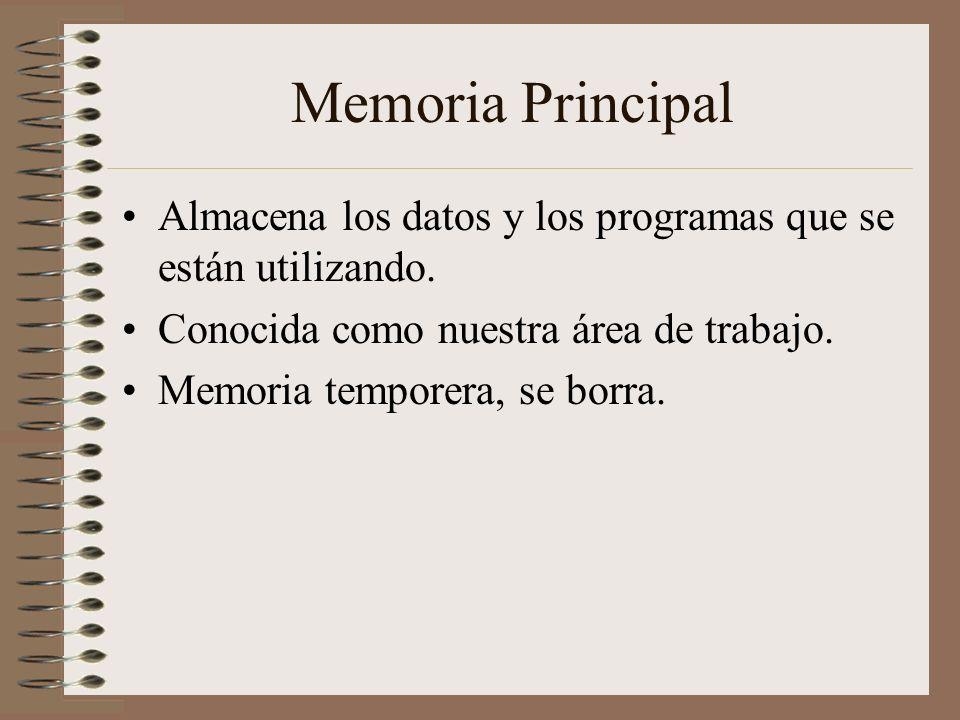 Memoria Principal Almacena los datos y los programas que se están utilizando. Conocida como nuestra área de trabajo.