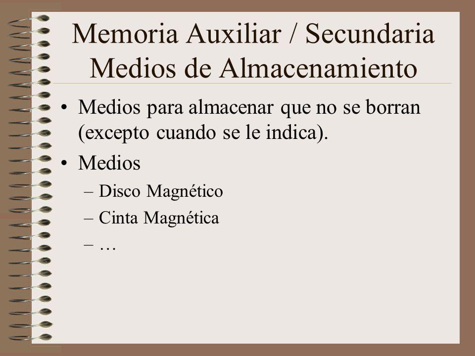 Memoria Auxiliar / Secundaria Medios de Almacenamiento