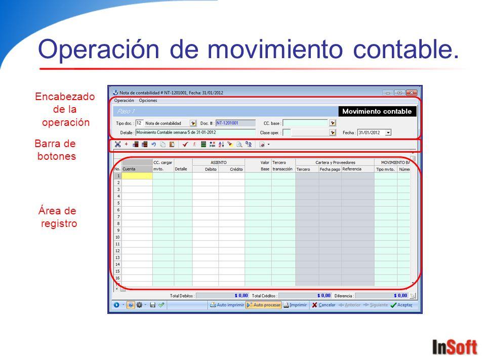 Operación de movimiento contable.