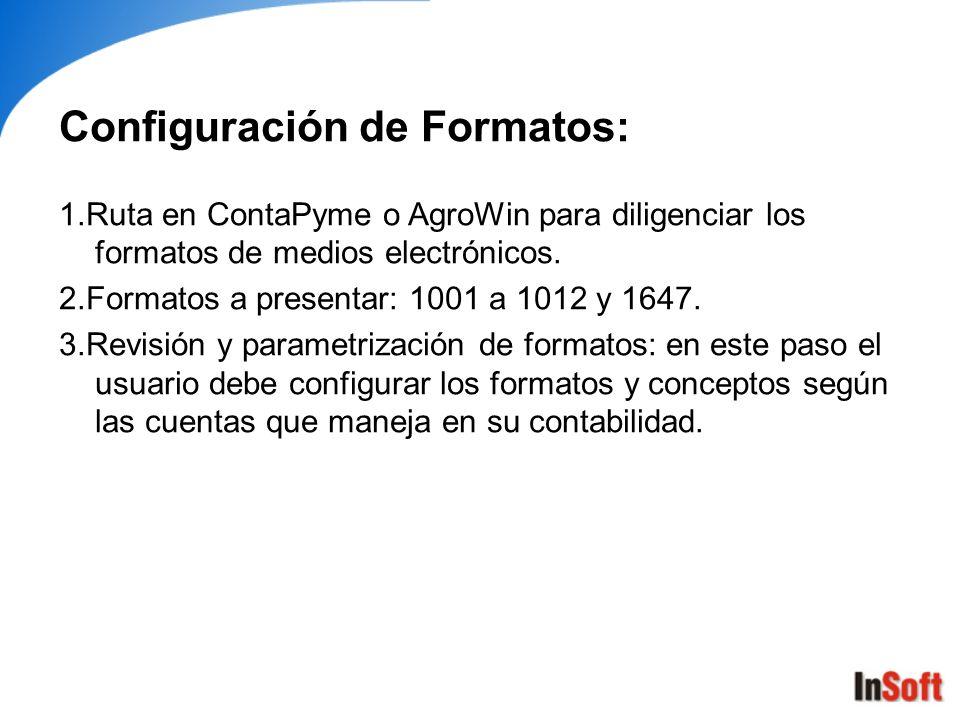 Configuración de Formatos: