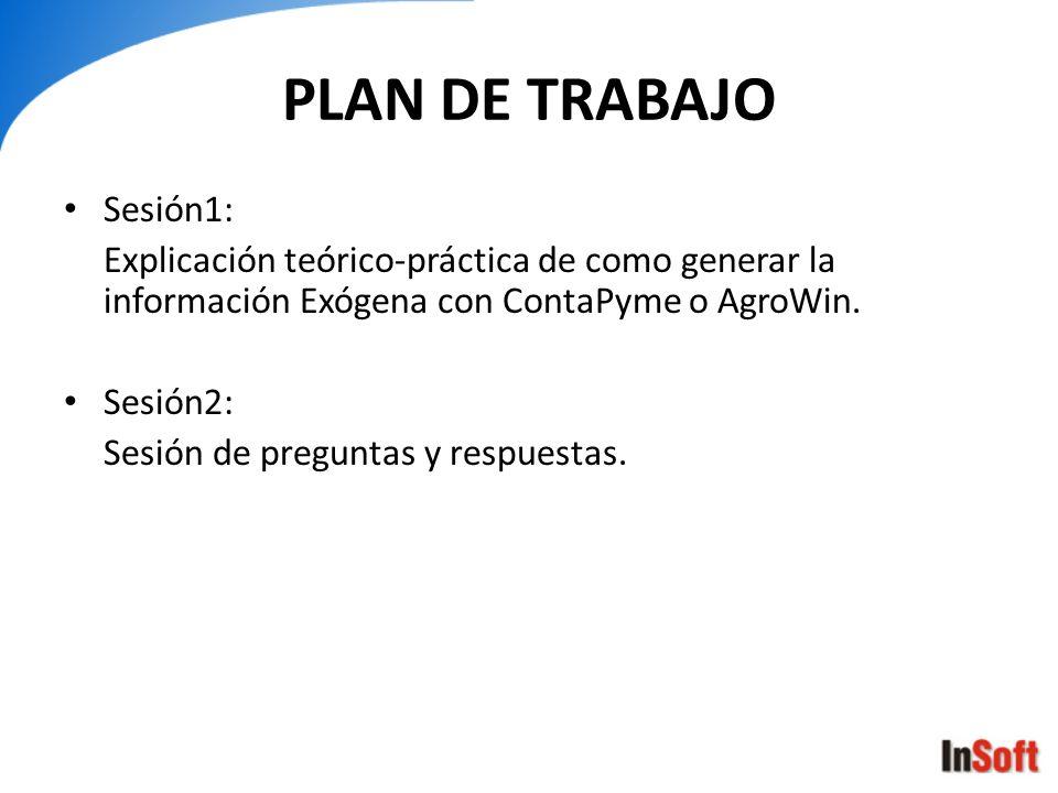 PLAN DE TRABAJO Sesión1: