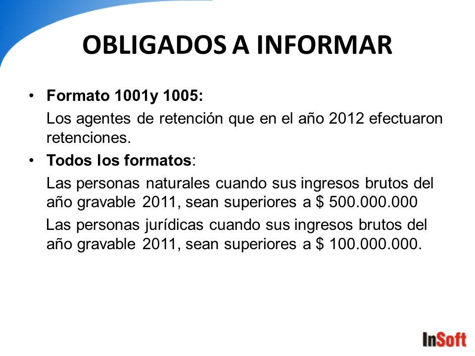 OBLIGADOS A INFORMAR Formato 1001y 1005: