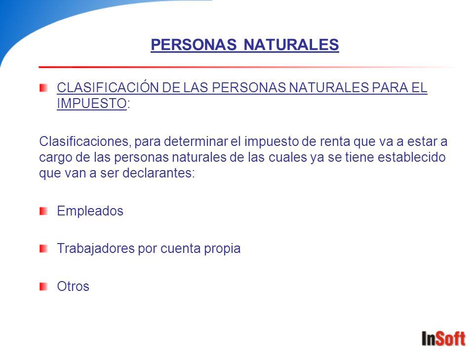 PERSONAS NATURALES CLASIFICACIÓN DE LAS PERSONAS NATURALES PARA EL IMPUESTO: