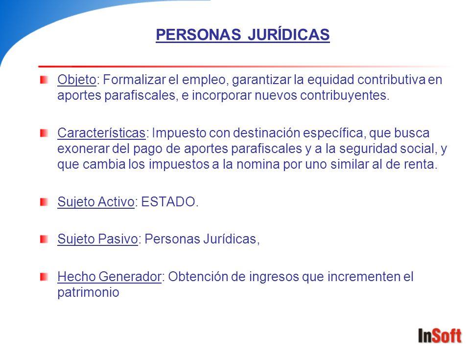 PERSONAS JURÍDICAS Objeto: Formalizar el empleo, garantizar la equidad contributiva en aportes parafiscales, e incorporar nuevos contribuyentes.