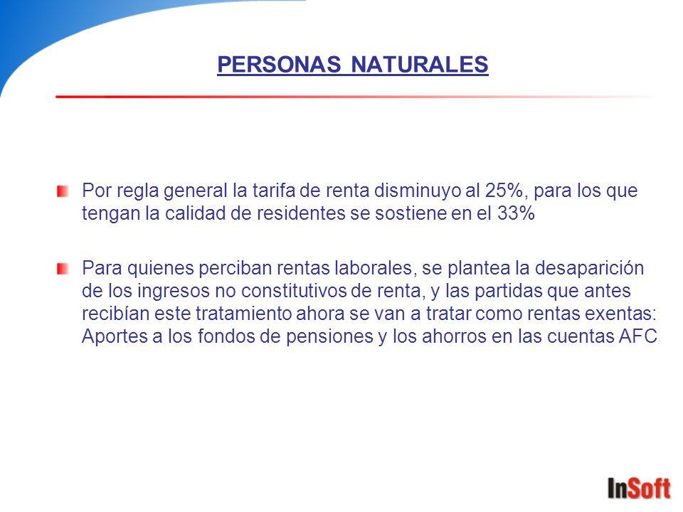 PERSONAS NATURALES Por regla general la tarifa de renta disminuyo al 25%, para los que tengan la calidad de residentes se sostiene en el 33%