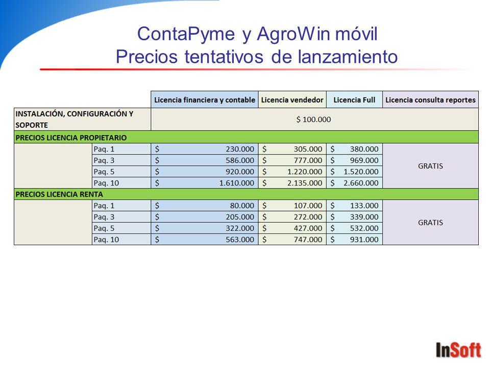 ContaPyme y AgroWin móvil Precios tentativos de lanzamiento
