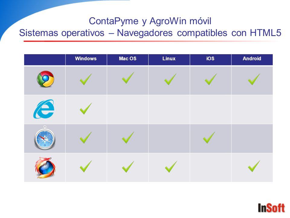 ContaPyme y AgroWin móvil Sistemas operativos – Navegadores compatibles con HTML5