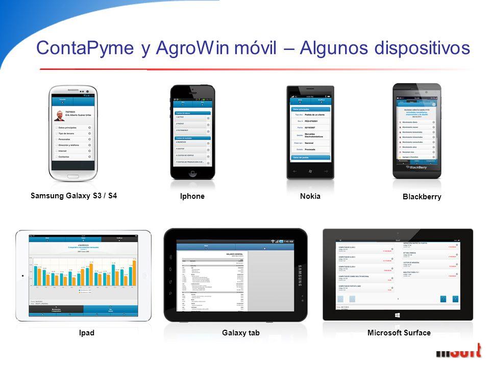 ContaPyme y AgroWin móvil – Algunos dispositivos