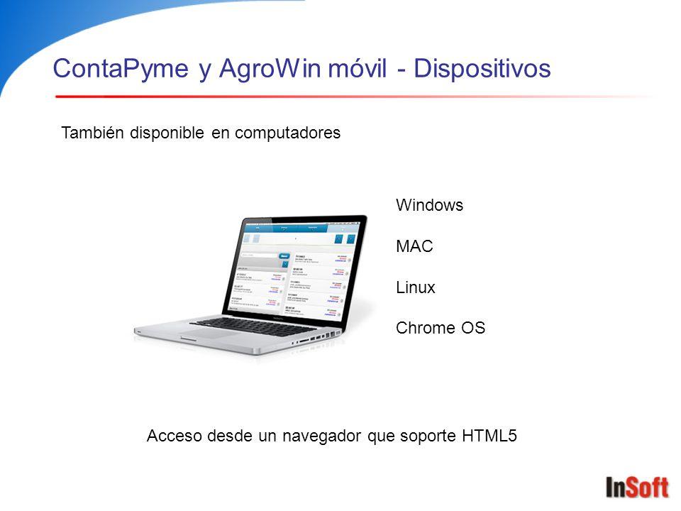 ContaPyme y AgroWin móvil - Dispositivos