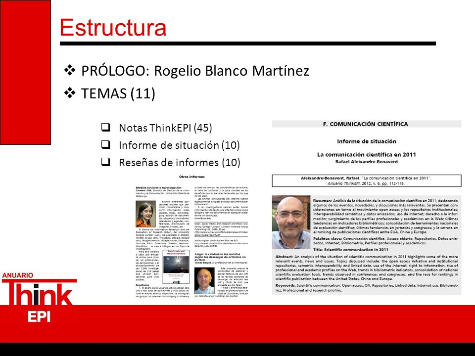 Estructura PRÓLOGO: Rogelio Blanco Martínez TEMAS (11)