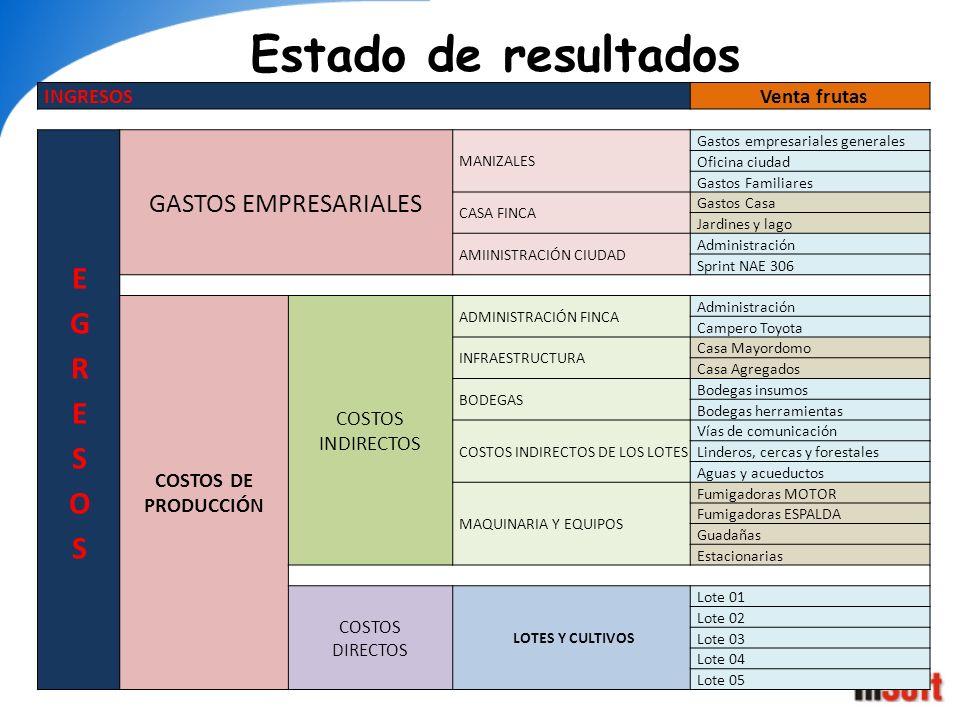Estado de resultados EGRESOS GASTOS EMPRESARIALES INGRESOS