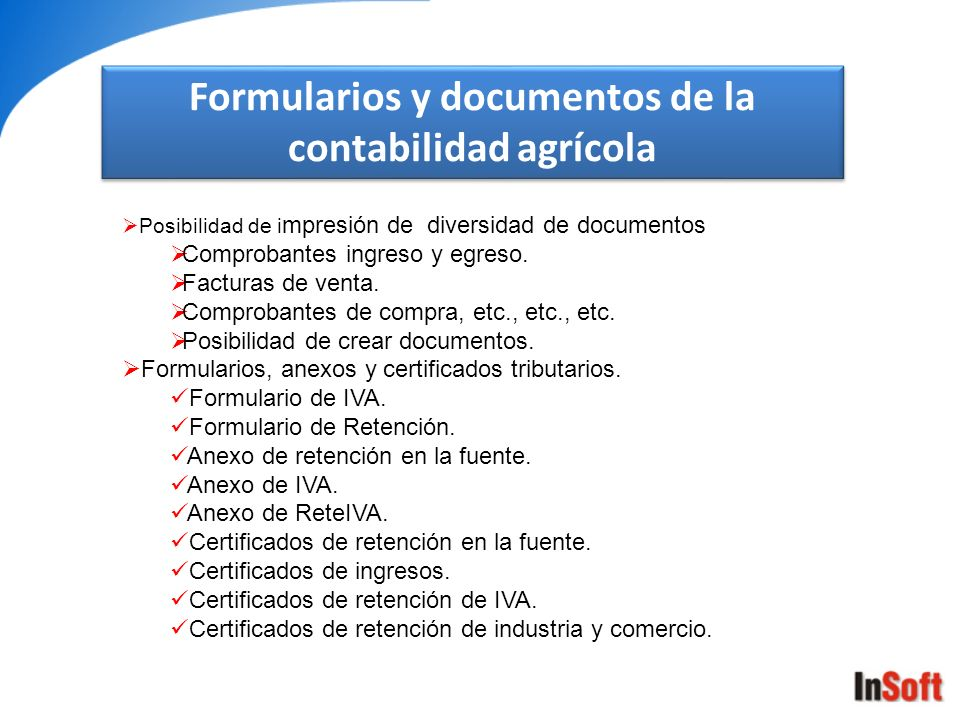 Formularios y documentos de la contabilidad agrícola