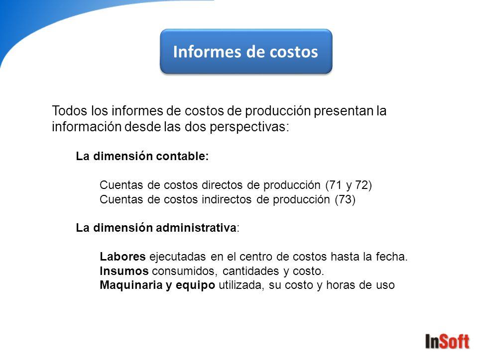 Informes de costos Todos los informes de costos de producción presentan la información desde las dos perspectivas:
