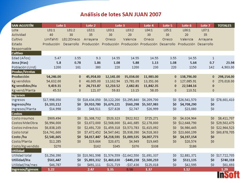 Análisis de lotes SAN JUAN 2007
