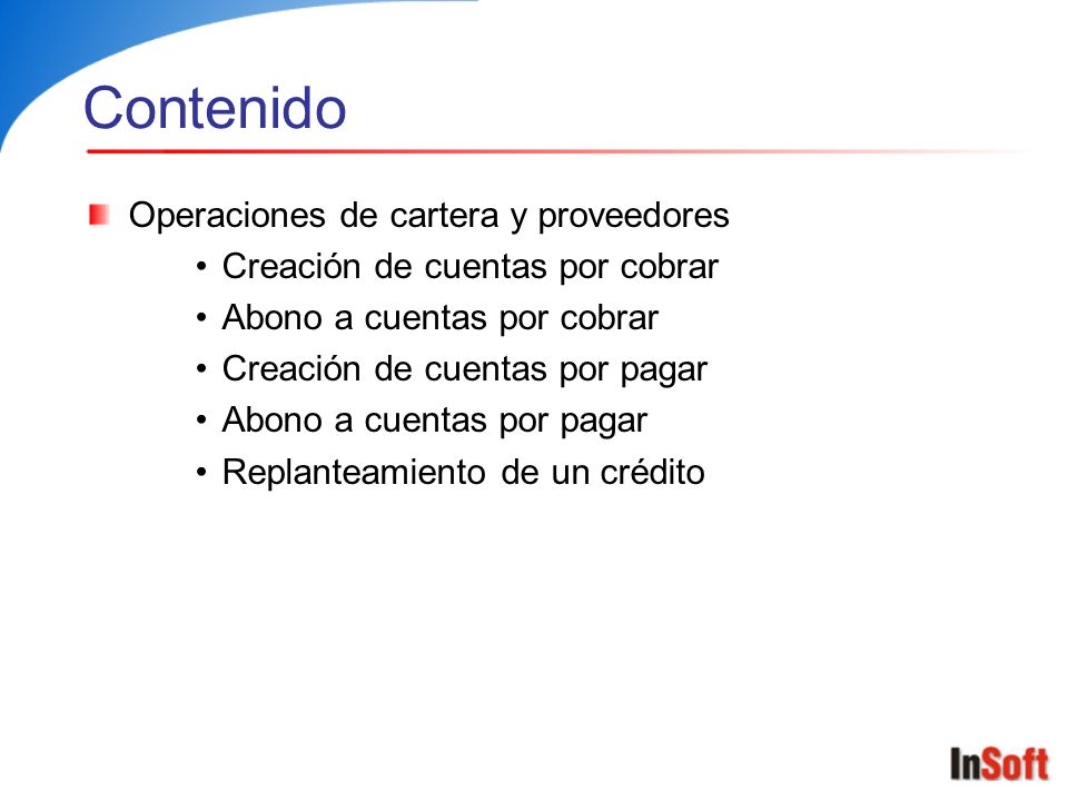 Contenido Operaciones de cartera y proveedores