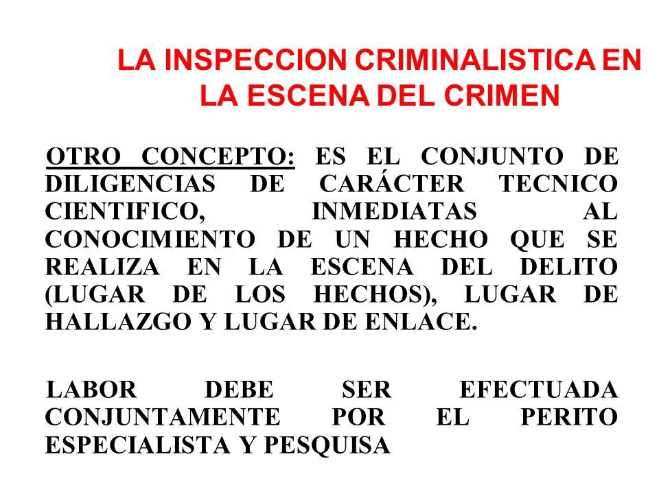 LA INSPECCION CRIMINALISTICA EN LA ESCENA DEL CRIMEN