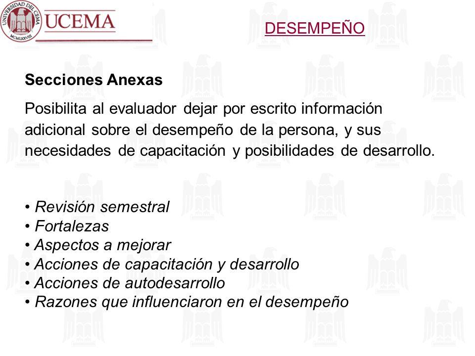 DESEMPEÑO Secciones Anexas.