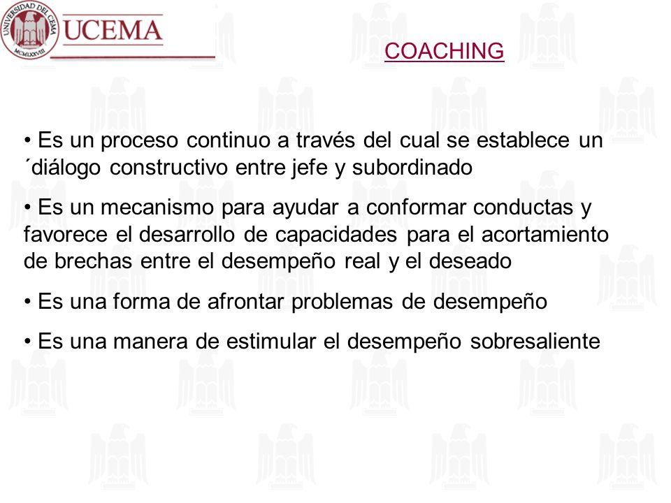 COACHING Es un proceso continuo a través del cual se establece un ´diálogo constructivo entre jefe y subordinado.