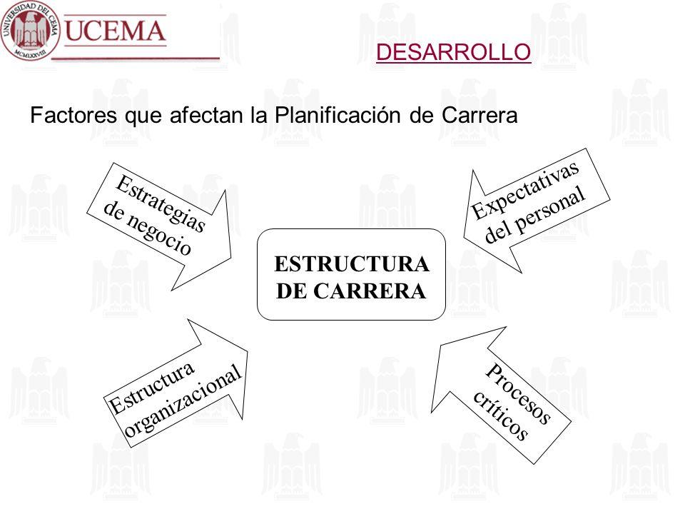 DESARROLLO Factores que afectan la Planificación de Carrera. Expectativas del personal. Estrategias de negocio.