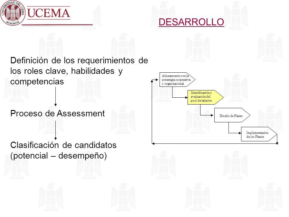 DESARROLLO Definición de los requerimientos de los roles clave, habilidades y competencias. Proceso de Assessment.
