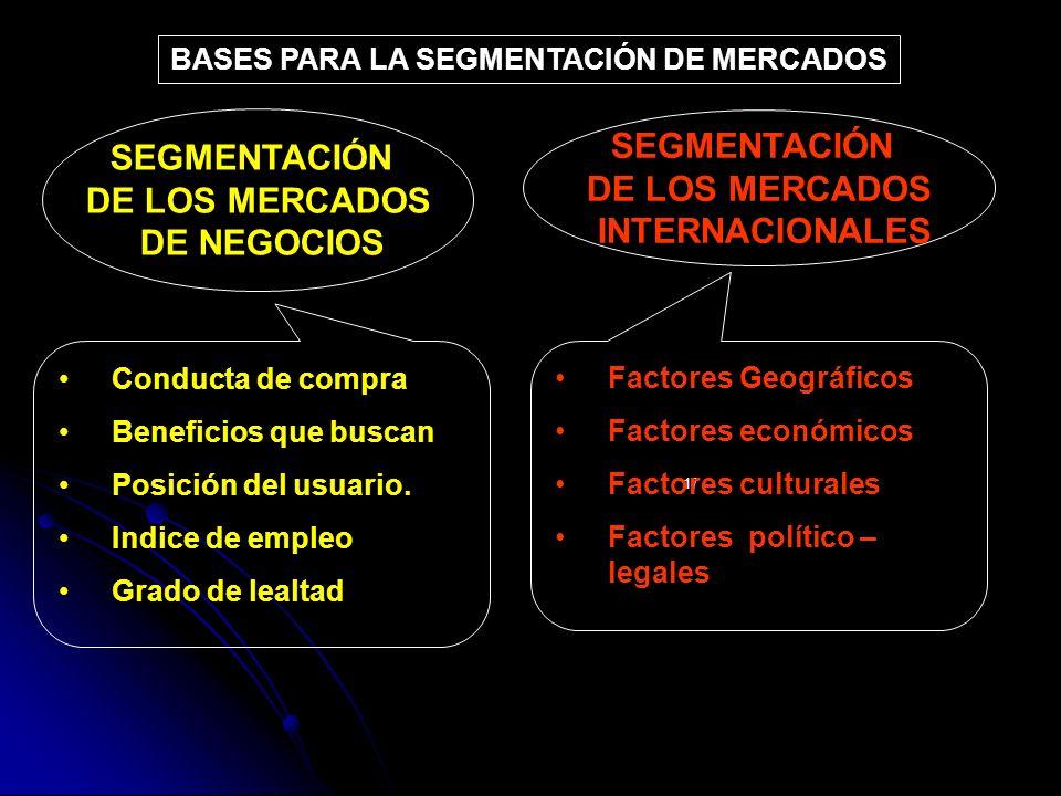 BASES PARA LA SEGMENTACIÓN DE MERCADOS