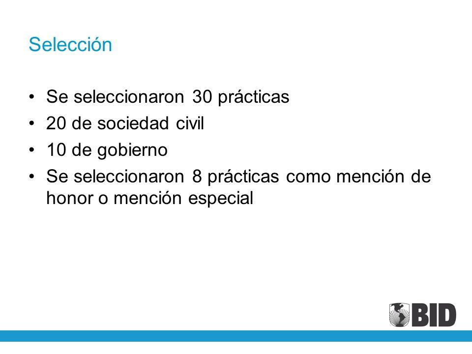 Selección Se seleccionaron 30 prácticas 20 de sociedad civil