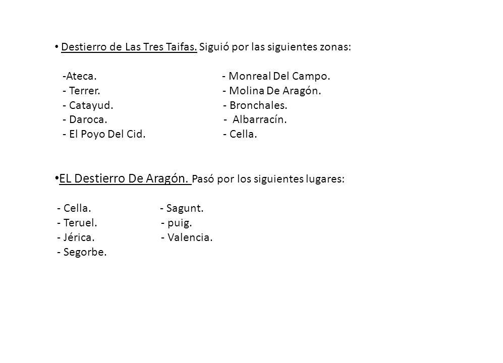 EL Destierro De Aragón. Pasó por los siguientes lugares: