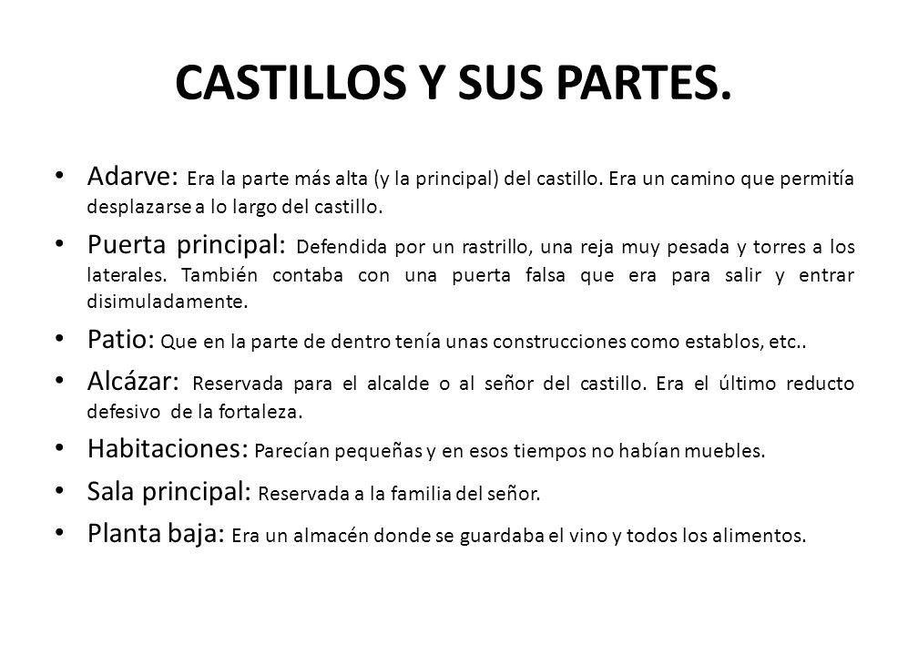 CASTILLOS Y SUS PARTES. Adarve: Era la parte más alta (y la principal) del castillo. Era un camino que permitía desplazarse a lo largo del castillo.